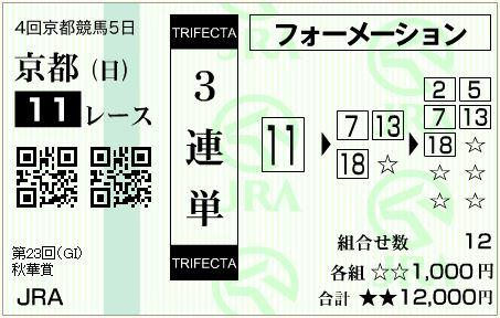 的中!秋華賞(G1)2018!3連単84,000円払い戻し!