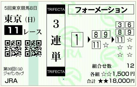 的中!ジャパンカップ(G1)2018!3連単40,350円払い戻し!