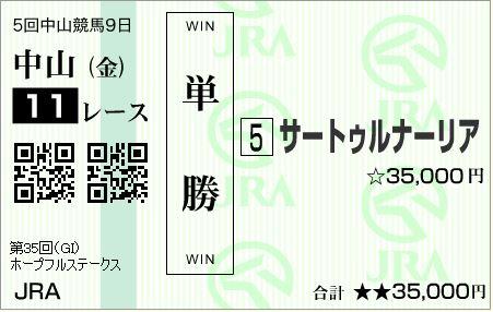 的中!ホープフルステークス(G1)2018!単勝63,000円払い戻し!