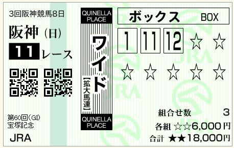 的中!宝塚記念(G1)2019!ワイドと複勝で計121,800円払い戻し!